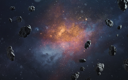 Foto de Abstract cosmic background with asteroids and glowing stars. Deep space image, science fiction fantasy in high resolution ideal for wallpaper and print. Elements of this image furnished by NASA - Imagen libre de derechos