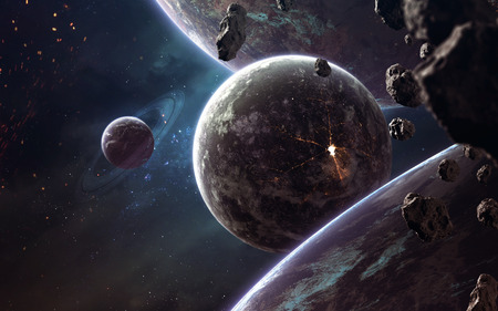 Photo for Planets, glowing stars and asteroids. Deep space image, science fiction fantasy in high resolution ideal for wallpaper and print. - Royalty Free Image