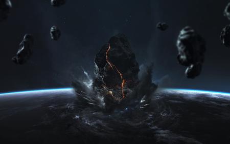 Photo pour End of Earth. Apocalypse, asteroid explodes the planet. Meteorite shower. - image libre de droit