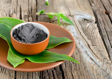 Photo pour Cosmetic clay in a ceramic bowl decorated with fresh green leaves. Spa body and face treatment - image libre de droit