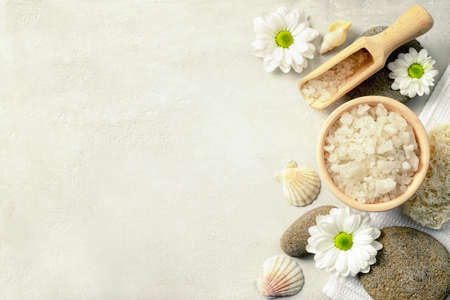 Photo for Spa setting with sea salt, top view - Royalty Free Image
