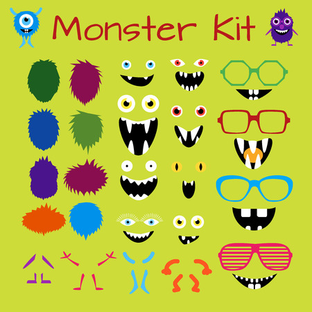 Illustration pour Monster and Character Creation Kit. Fully editable, scalable and customizable.  - image libre de droit