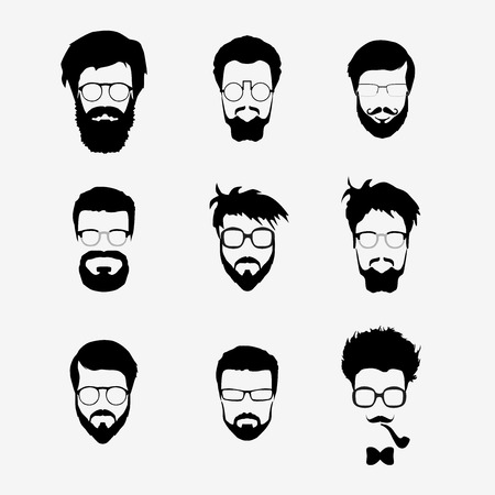 Ilustración de Vector set of dress up constructor. Different men faces hipster geek style haircut, glasses, beard, mustache, bowtie, pipe. Silhoutte icon creation kit. Design flat avatar for social media or web site - Imagen libre de derechos
