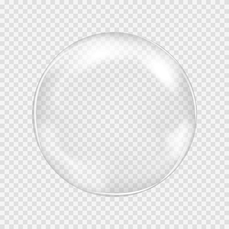 Ilustración de Big white transparent glass sphere with glares and highlights. White pearl. Vector illustration, contains transparencies, gradients and effects - Imagen libre de derechos