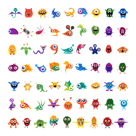 Illustration pour Big vector set of drawings custom characters isolated colorful monsters, germs, bacteria, aliens, halloween characters for prints, website, social media avatar, banners. For your design and business. - image libre de droit