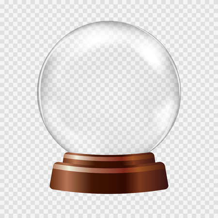 Ilustración de Snow globe. Big white transparent glass sphere on a stand with glares and highlights. Vector illustration contains gradients and effects. Winter christmas background for your design and business. - Imagen libre de derechos