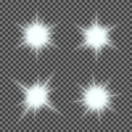 Illustration pour Vector set of glowing light bursts with sparkles on transparent background. Transparent gradient stars, lightning flare. Magic, bright, natural effects. Abstract texture for your design and business. - image libre de droit