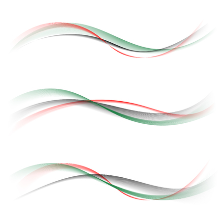 Ilustración de Abstract smooth color wave vector set on white background. Curve flow red green black smoke pattern motion illustration. Flag UAE, United Arab Emirates template Art for your design and business. - Imagen libre de derechos