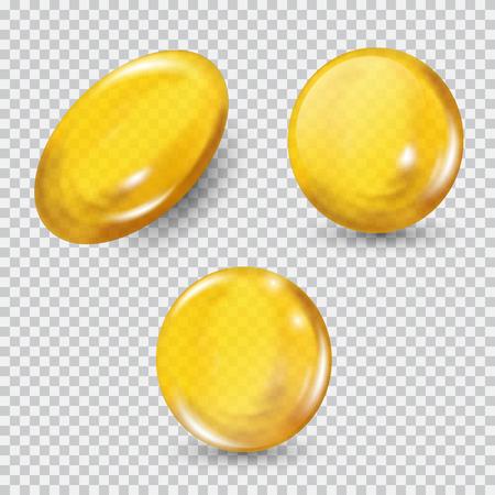 Ilustración de Gold glass ball set isolated on transparent background. - Imagen libre de derechos