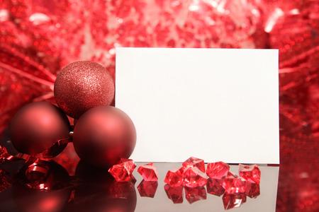Photo pour Christmas card on red background - image libre de droit