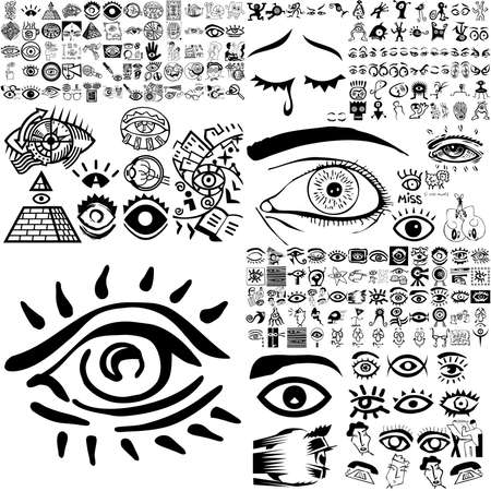 Eyes set of black sketch. Part 200. Isolated groups and layers.