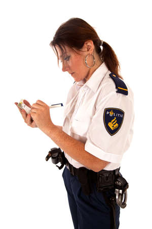 dutch female police officer on white background