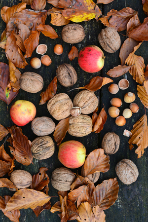 Photo for Walnuts, hazelnuts and wild apples mixed with autumn leaves on old, grunge oak table, top view - Royalty Free Image