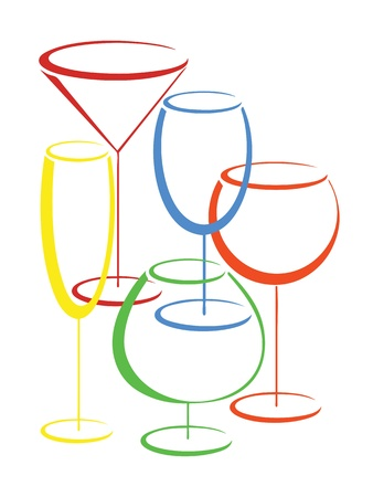 Set of colorful glasses of alcohol drinks