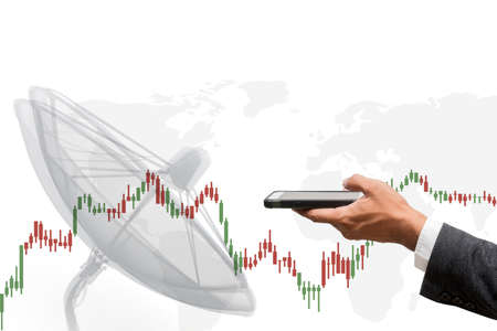 business man using smart phone with business graph