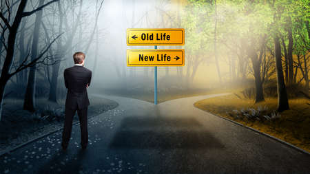 Foto de businessman has to decide between old life and new life  - Imagen libre de derechos
