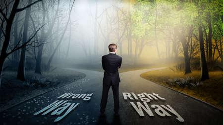 Foto de businessman has to choose between wrong and right way - Imagen libre de derechos