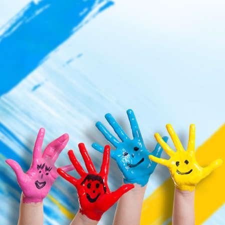 Foto de colorful painted hands - Imagen libre de derechos