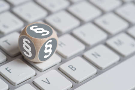Photo for little cube with paragraph symbol on a keyboard - Royalty Free Image