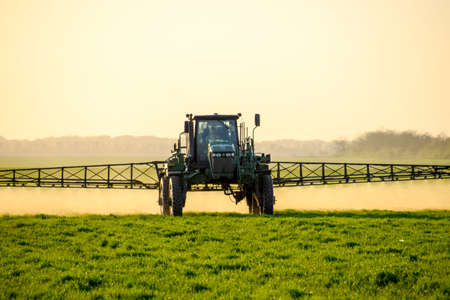 Photo pour Tractor with high wheels is making fertilizer on young wheat. The use of finely dispersed spray chemicals. Tractor on the sunset background. - image libre de droit
