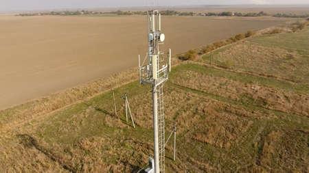 Foto de Cellular tower. Equipment for relaying cellular and mobile signal. Cellular tower. - Imagen libre de derechos