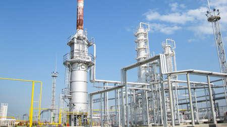 Photo pour The oil refinery. Equipment for primary oil refining. - image libre de droit