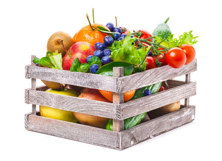 Photo for Fruits and vegetables in wooden box - Royalty Free Image