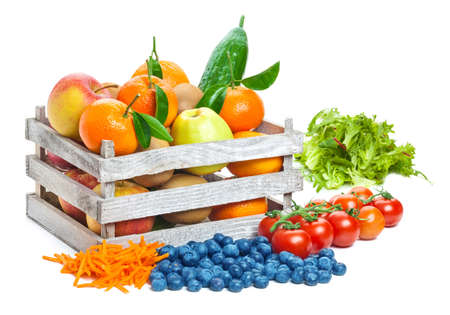 Foto per Fruits and vegetables, box - Immagine Royalty Free