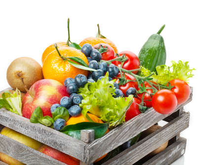 Foto per Fruits and vegetables in wooden box - Immagine Royalty Free