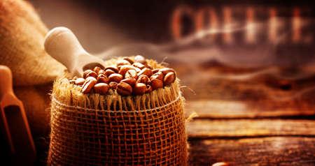 Foto de Coffee beans freshly roasted coffee Roastery, close-up - Imagen libre de derechos