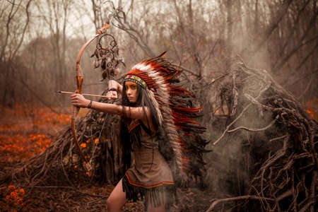 Photo pour Native american. Indian woman in traditional dress - image libre de droit