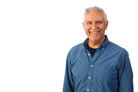 Foto de Handsome middle age man studio portrait isolated on a white background. - Imagen libre de derechos