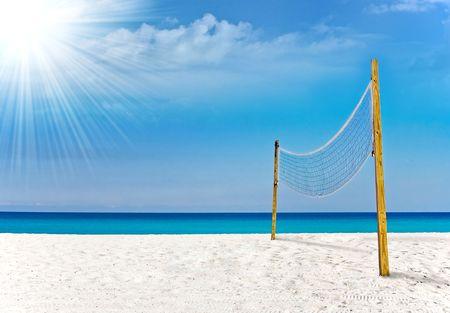 Foto de Volleyball court in Miami tropical paradise - Imagen libre de derechos