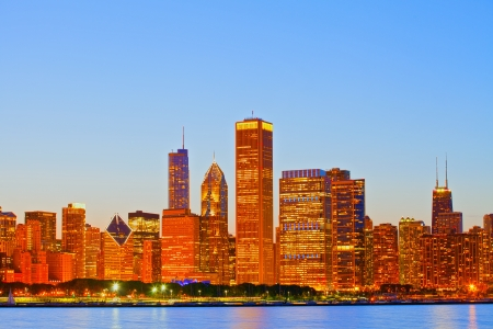 City of Chicago USA sunset