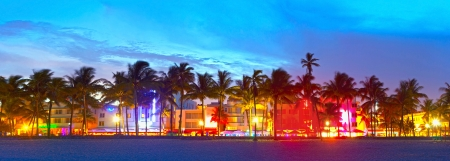 Photo for Miami Beach, Florida  hotels and restaurants at sunset on Ocean Drive, world famous destination for it's nightlife, beautiful weather and pristine beaches - Royalty Free Image