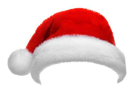 Foto de Single Santa Claus red hat isolated on white background - Imagen libre de derechos