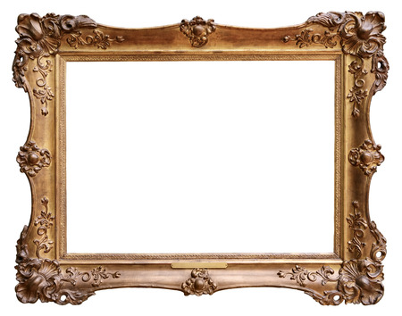 Foto de Wooden vintage frame isolated on white background - Imagen libre de derechos