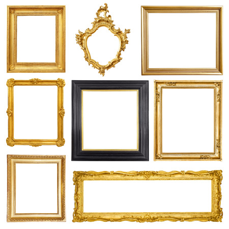 Foto de Set of golden vintage frame isolated on white background - Imagen libre de derechos