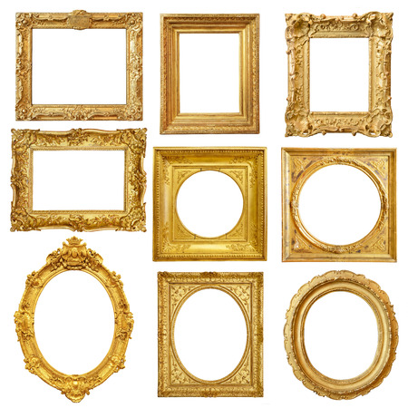 Photo for Set of golden vintage frame isolated on white background - Royalty Free Image