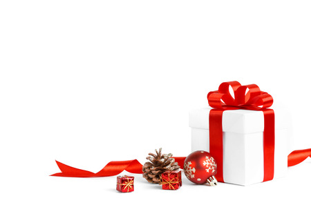 Photo for christmas gift with red balls bow isolated on white background - Royalty Free Image