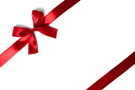 Photo for red ribbon with tails isolated on white background - Royalty Free Image