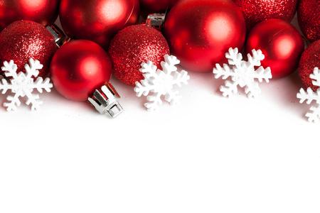 Foto de Christmas border with red ornaments - Imagen libre de derechos