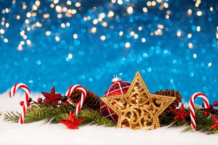Foto per Christmas star and decoration - Immagine Royalty Free