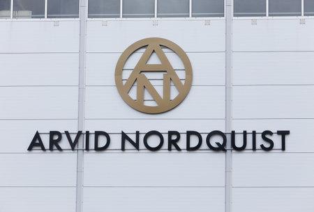 Foto de Solna, Sweden - April 19, 2016: The sign on the Arvid Nordquist coffee roastery building. - Imagen libre de derechos