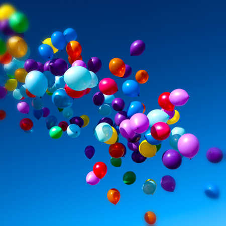 Foto de Colorful Balloons flying in the sky party - Imagen libre de derechos