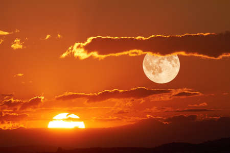 Photo for The sun and the moon can be seen in the sky Simultaneously. - Royalty Free Image