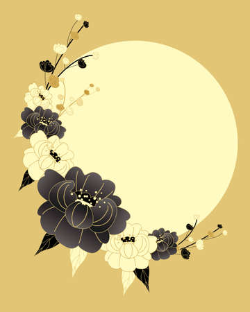 Ilustración de an illustration of a chinese style chrysanthemum design in black gold and cream colors with a big yellow sun - Imagen libre de derechos