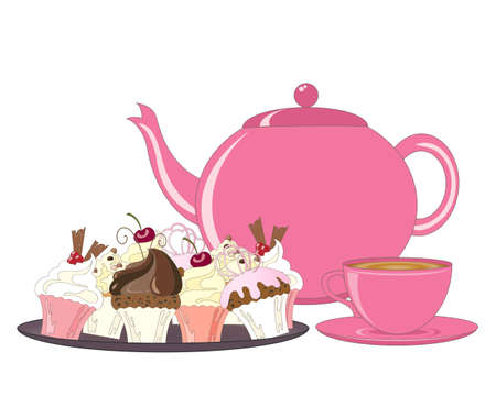 Illustration pour an illustration of a selection of decorated cakes teapot and tea cup for an afternoon tea on a white background - image libre de droit
