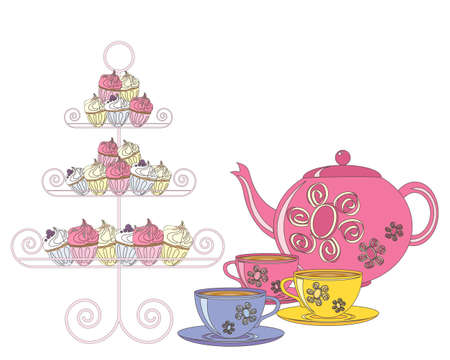 Illustration pour an illustration of a selection of fancy cakes teapot and tea cups for an afternoon tea on a white background - image libre de droit