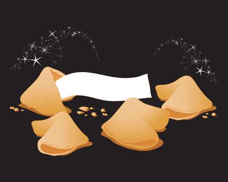 Ilustración de an illustration of some magic fortune cookies on a black background with sparkles - Imagen libre de derechos
